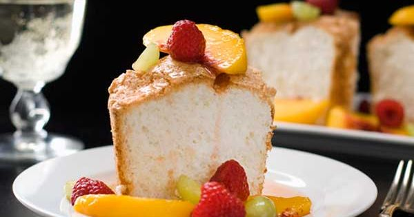 Gluten Free Angel Food Cake with Peach Sangria Sauce Recipe - A