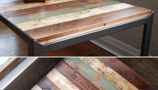 recycled wood table excellent idea to jazz up my old kids table into a oversized coffee table