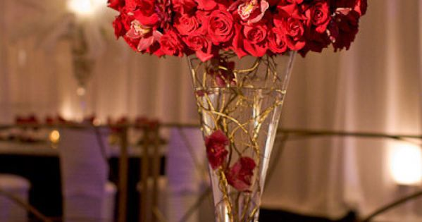 Red rose centerpieces wedding topiary