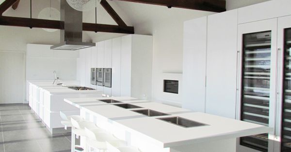 Pure White Contemporary Kitchen With Tall Cabinet Wall With Built In Appliances Portfolio