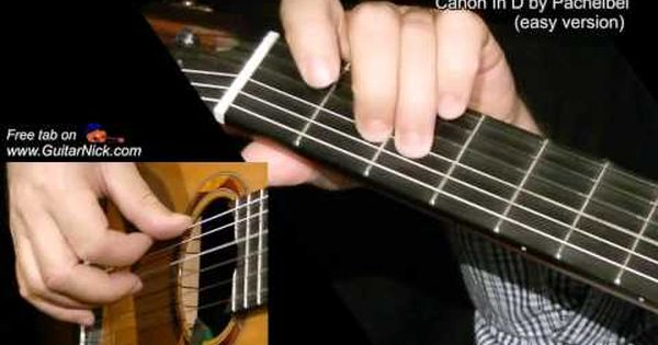 Canon In D By Pachelbel Easy Guitar Lesson Tab By Guitarnick Easy Guitar Guitar Easy Guitar Tabs