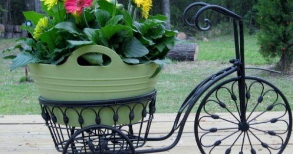 bicycle plant stand flower pot holder iron bike indoor. Black Bedroom Furniture Sets. Home Design Ideas