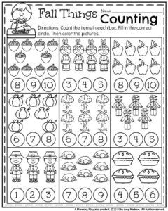 Fall Kindergarten Worksheets For November Fall Kindergarten