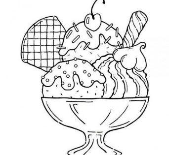 Ice Cream Cone Colouring Pages Halaman Mewarnai Objek Gambar