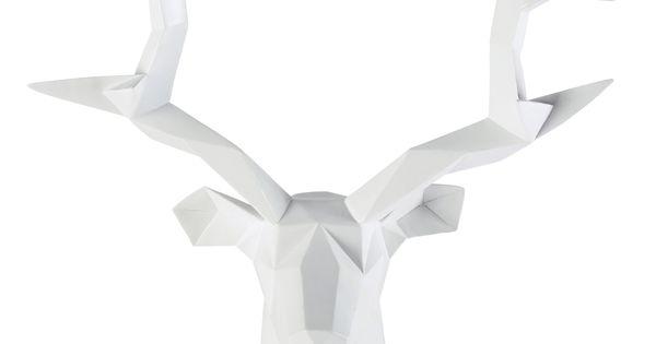 D co murale t te de cerf en r sine blanche 45 x 47 cm origami maisons du mo - Tete de cerf en resine ...