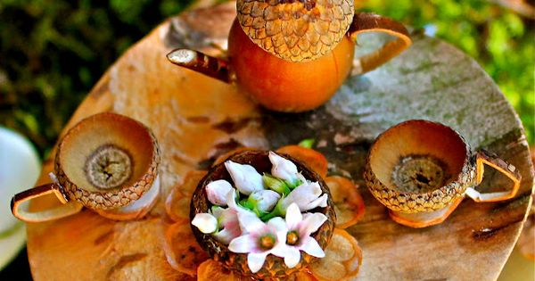 Acorn tea set for fairy garden