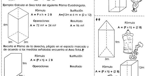Calculo Del Area Total De Prismas 6to Grado Areas De Cuerpos