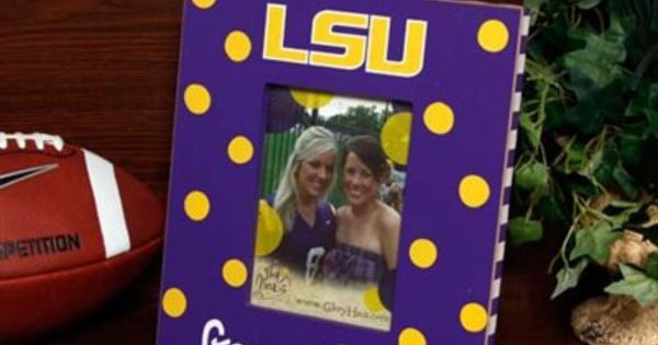 Lsu Tigers 5 X 7 Purple Polka Dot Vertical Picture