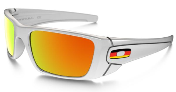 oakley sunglasses symbol  custom fuel cell oakley sunglasses with germany flag symbol, polished white frame, and fire iridium lenses