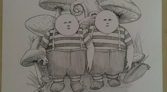 Tweedle Dee And Tweedle Dum Original Ink Drawing By