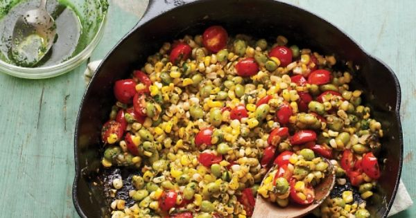 Skillet Corn, Edamame, and Tomatoes with Basil Oil Recipe GOOD SIDE DISH