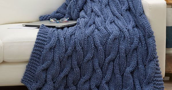 Casual Cables Throw Free Knitting Pattern in Red Heart Yarns -- The bulky wei...