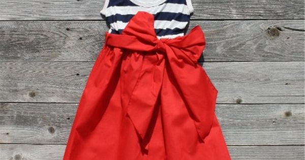Blue & white stripes, red skirt w/ bow. YES. women style fashion