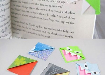 Monster bookmarks! Origami folded paper: great craft for kids