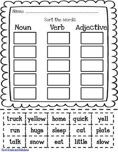 First Grade And Fabulous Just Hodgepodge And A Little Freebie Worksheet Resource Coll Nouns Verbs Adjectives Nouns And Verbs Worksheets First Grade Writing