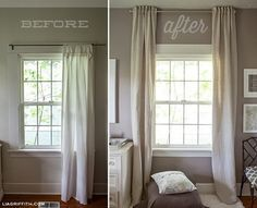 Hang Curtains Up To The Ceiling To Make A Low Ceiling Look Taller Small Window Curtains Home Living Room Windows