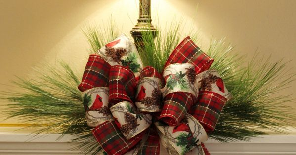A simple idea becomes quite elegant with a beautiful bow. Christmas decorating