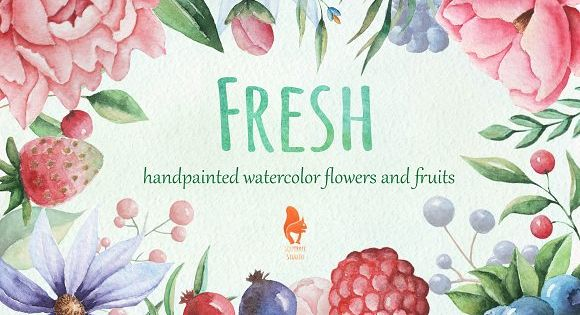 Fresh, Watercolor Flowers and Fruits – handpainted illustration