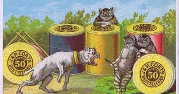 J P Coats Best Six Cord Thread Cats Teasing A Dog Victorian Trade Card1880s Ebay Art Art Prints Cat Art