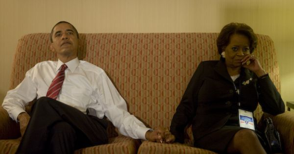 President Obama and mother in law at the 2008 presidential election.