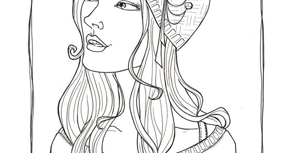 Pretty Girl Funky Hat Lineart By Catzilla