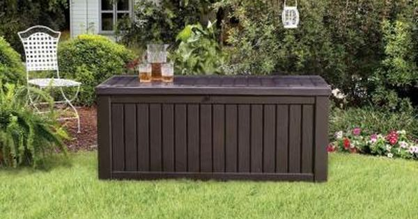 Keter Rockwood 150 Gal Deck Box In Brown 214301 The Home Depot