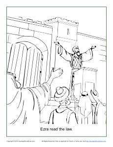 Ezra Read The Law Coloring Page Sunday School Coloring Pages