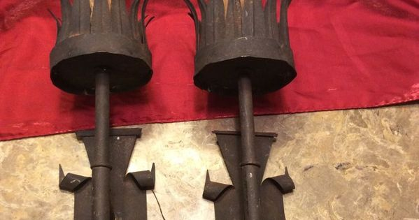 Wall Sconces That Look Like Torches : Gothic Medieval Look Metal Electric Light ~ Wall Sconce, Looks like 2 Torches Gothic Galor ...