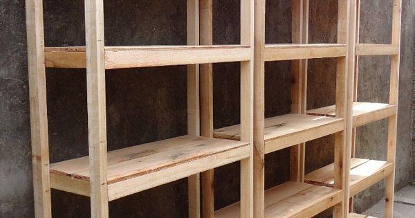 Estanterias a medida de madera rustica 1 estante 60x32 - Como hacer estantes de madera ...