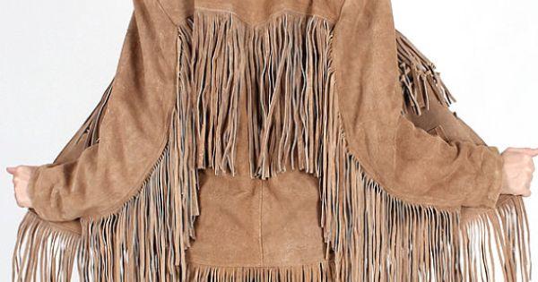 Vintage 70s Tan SUEDE Leather FRINGE coat by ...