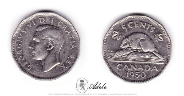 1950 canadian nickel 5 cents george vi dei gratia rex etsy pin. Black Bedroom Furniture Sets. Home Design Ideas