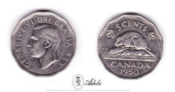 1950 canadian nickel 5 cents george vi dei gratia rex etsy pin. Black Bedroom Furniture Sets. Home Design Ideas