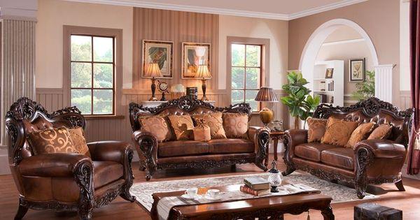 Carnegie Leather Formal Living Room Set   Victorian Living Room ...