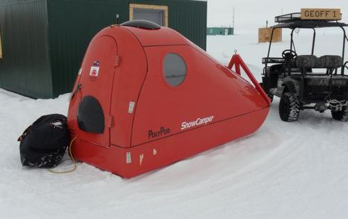 The Poly Pod snow camper, equipped with Trimble GPS and arctic survival