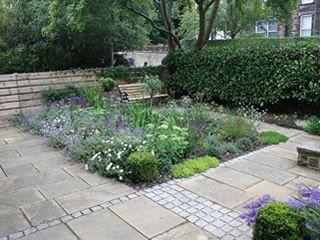 Front Yard Garden At Headingley Leeds West Yorkshire Stone Sets Sandstone Paving Herbaceous Planting Design Garden Makeover Back Garden Design Back Gardens