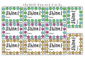 Freebie Shine Student Reward Punch Cards Behavior Punch Cards Student Rewards Punch Cards