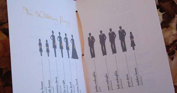 Wedding program. Cool idea so everyone knows your wedding party