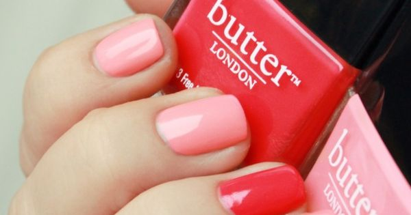 "Butter london in ""Macbeth"" & ""Trout Pout."" Cute Valentine's day manicure. Pink"