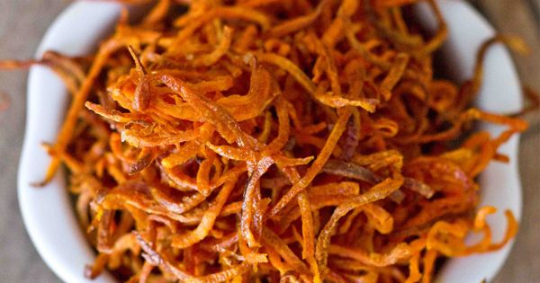 Crispy Baked Shoestring Sweet Potato Fries are a delicious, easy and healthy