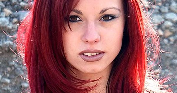 Red And Black Hair Dye Styles: Young Woman In Dark Red Sexy