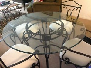 Bombay Company Dining Table And Chairs 48 Glass Table Top With Iron Base Glass Top Table Dining Table Chairs Dining Table