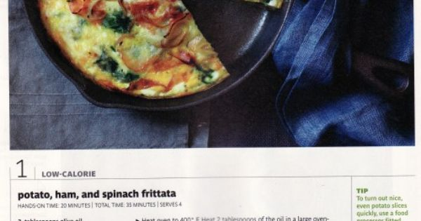 Potato, Ham & Spinach Frittata (from Real Simple magazine Feb 2012 ...