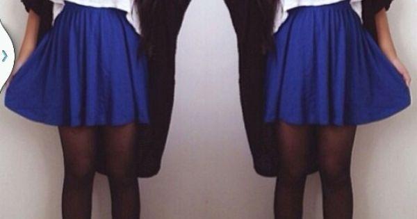 cobalt blue skater skirt my fly style
