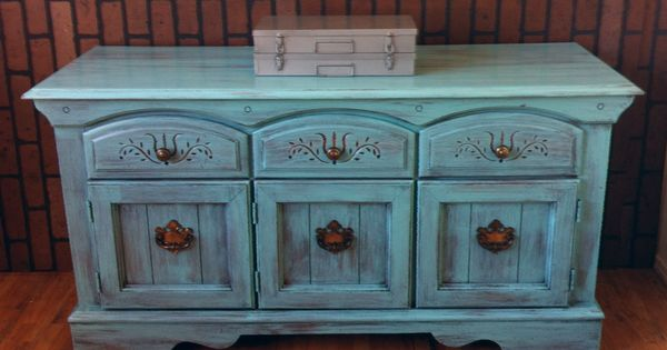 Furniture upcycle shabby chic turquoise blue vintage for Sideboard 80 x 80
