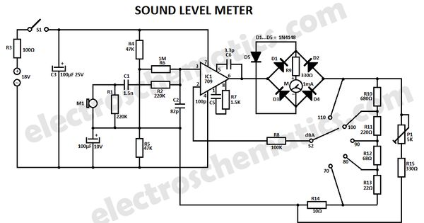 sound level meter circuit schematic