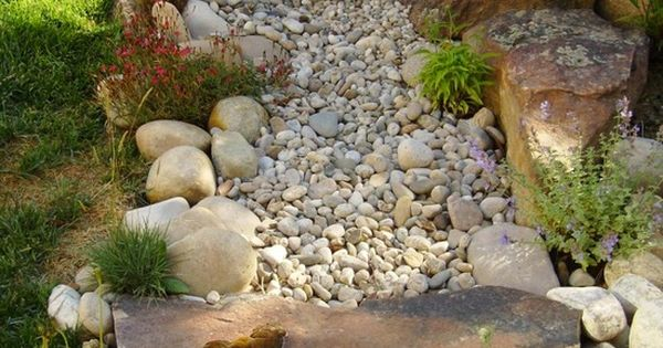 Dry river bed landscape. Side yard near wall or by house