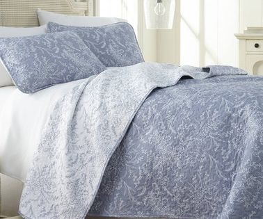 100/% Cotton Lightly Quilted Coverlet Set Aiden Blue Queen