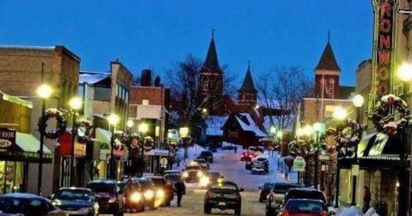 A Small Town Downtown Ironwood Michigan During Winter