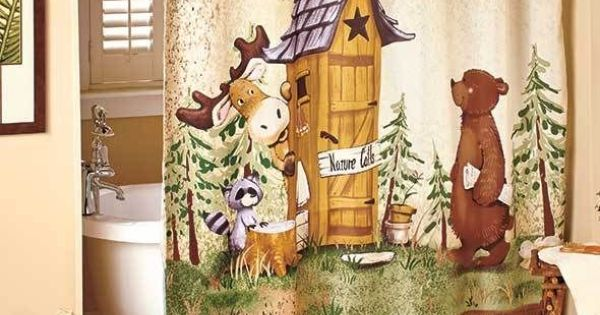 Nature Calls Shower Curtain Comical Bear Moose Outhouse