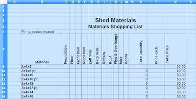 Shed Materials List Spreadsheet In 2020 Shed Plans Shed
